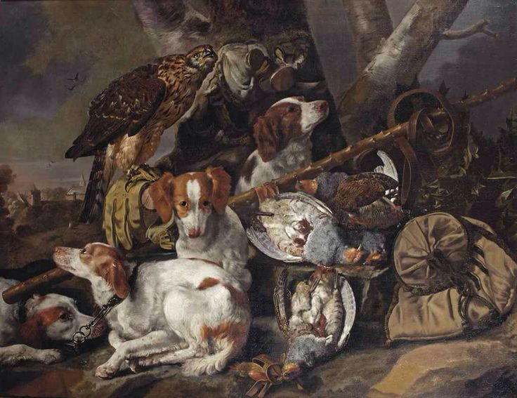 Carstian Luyckx ( 1623-1675) Oil on canvas 90x115 cm Hunting stil life with juv. Goshawk, spaniels and partridges