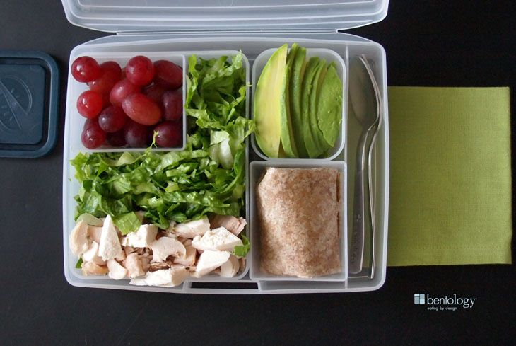 Love a good wrap but not a fan of soggy lunches? Tote it deconstructed and wrap it on the go! #Bentology #lunchhacks #portionperfect #togo #weightloss #healthymeals #recipes #menus #mealprep