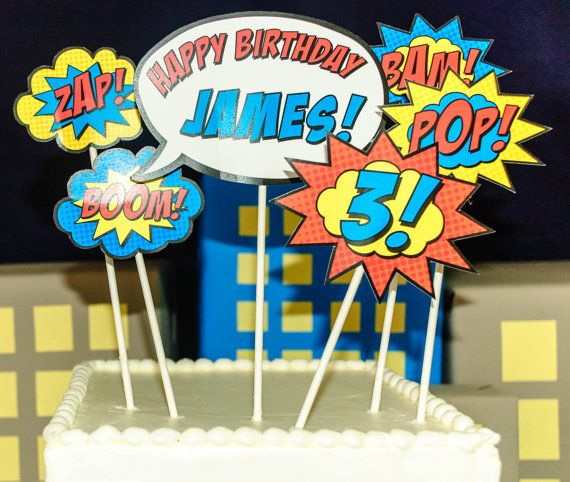 Superhero Cake Topper PRINTED by BsquaredDesign on Etsy, $11.50