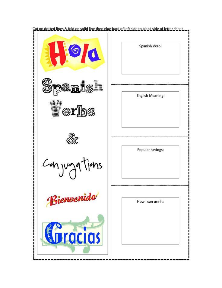 spanish conjugation worksheets or flapbooks lapbooks for interactive. Black Bedroom Furniture Sets. Home Design Ideas