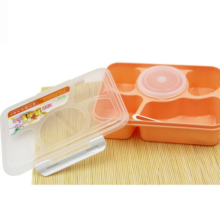 5+1 Food Container Storage Box Hot Portable Microwave Bento Lunch Box With 1 Spoon For Student Office Worker KC1548
