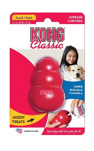 The small Kong Classic is a super-bouncy, red natural rubber compound which is perfect for dogs that like to chew. Perfect for stuffing with KONG treats, Unpredictable bounce for games of fetch, Recommended worldwide by Veterinarians, Trainers and dog enthusiasts,The chase-chew experienceShaped for wild, bouncy fun, Guaranteed irresistible natural rubber.