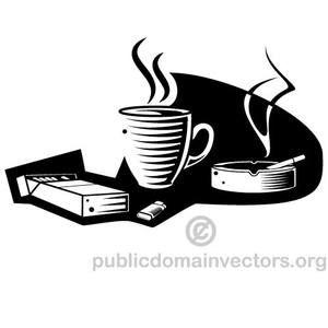 publicdomainvectors org kopi dan rokok vektor ilustrasi ilustrasi kopi hitam dan putih pinterest