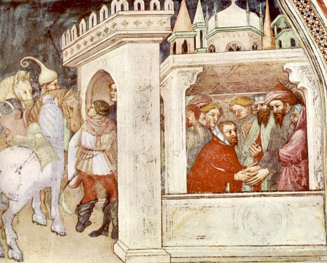 St. Augustinus van Hippo. - 1420/30(?) Plafondschildering door Ottaviano Nelli. Italië, Gubbio, Sant 'Agostino Augustinus ontvangen door autoriteiten te Milaan.