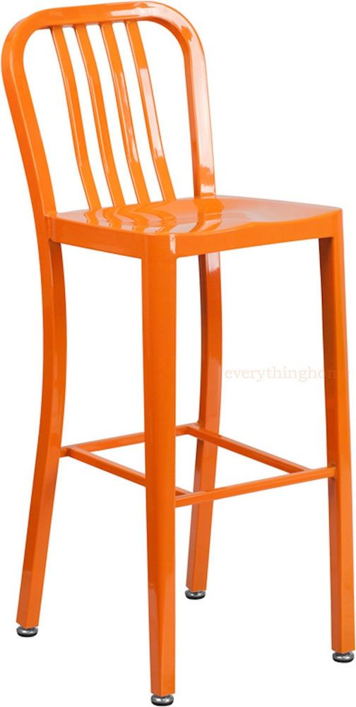 Mid Century Orange U0027navyu0027 Style Bar Stool Cafe Patio Chair In Outdoor  Commercial