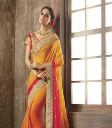 Buy Yellow embroidered chiffon saree With Blouse bollywood-saree online