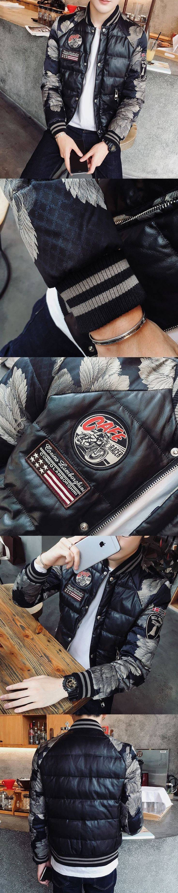 Thick Winter Printed Jacket Parka Men  Winter Men Puffer Overcoat Men Black Mens Fashion Coat Club Outfit 3xl Slim Fit #parkaoutfit #cluboutfits #menoutfits #men'sfitness