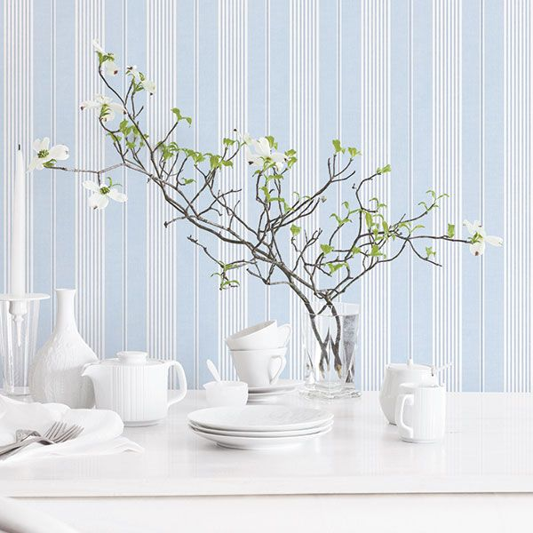 Bright and refreshing blue stripe, great on it's own or complimenting florals and damasks. Jardin Chic Collection by Galerie - G67320R