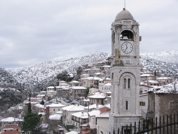 Dimitsana: The clocktower of St Haralambus church.