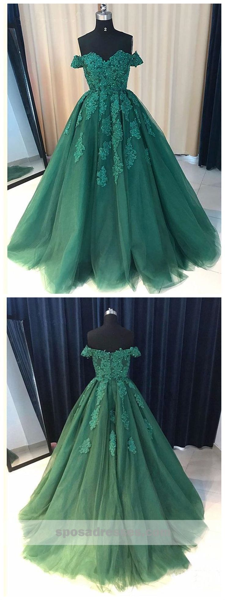 Off shoulder emerald green lace a line long custom evening prom