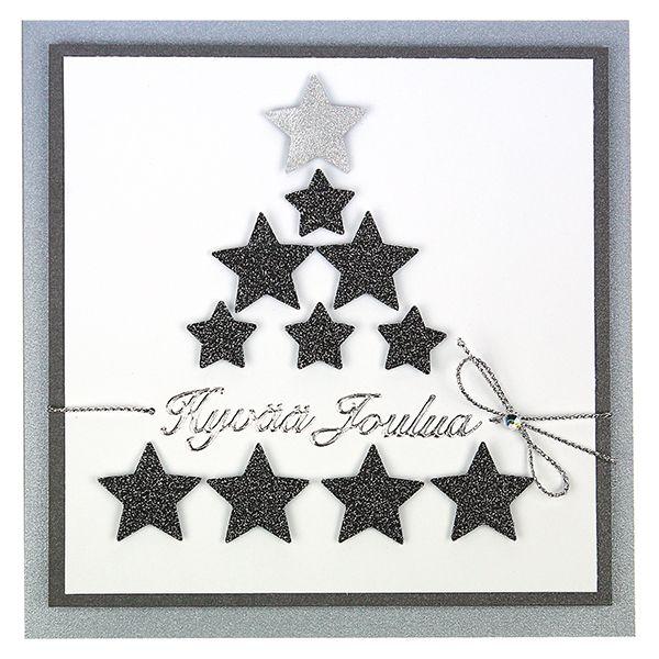 Leikkaa kuviolävistäjien avulla kimallekalvosta tai papereista tähtiä ja muodosta niistä korttiin kuusi.