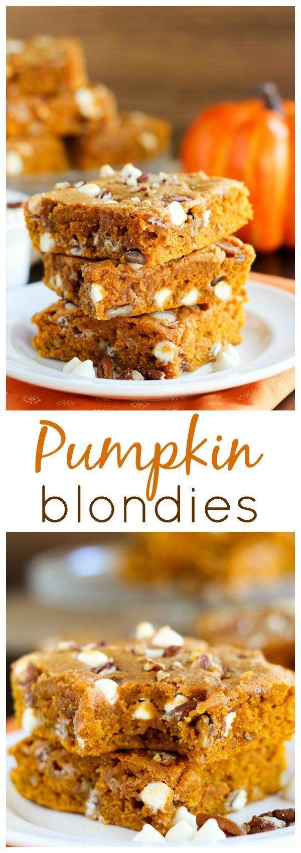 Pumpkin Blondies - Soft and moist pumpkin blondies made with brown butter and…