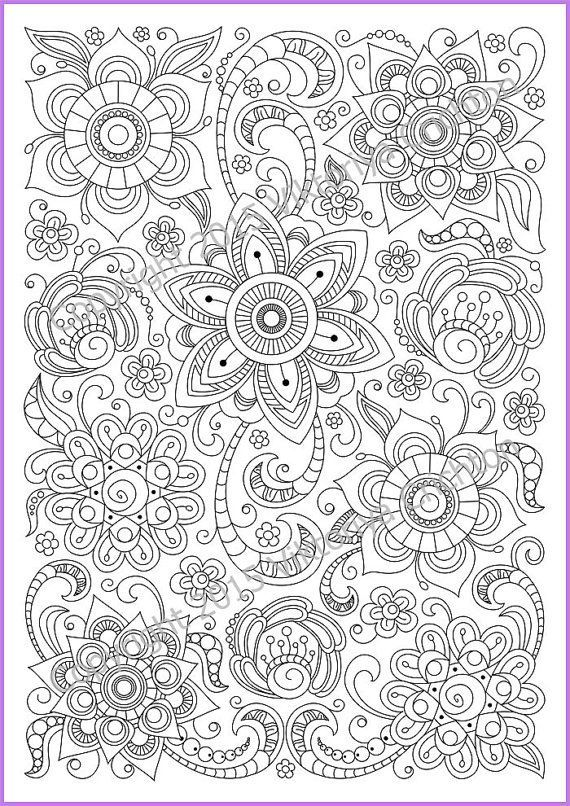 coloring page pdf adults and children printable doodle flowers zendoodle zentangle inspired
