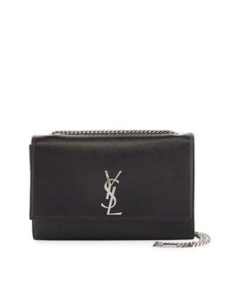 Saint Laurent Kate Monogram Medium Grain Leather Wallet on a Chain