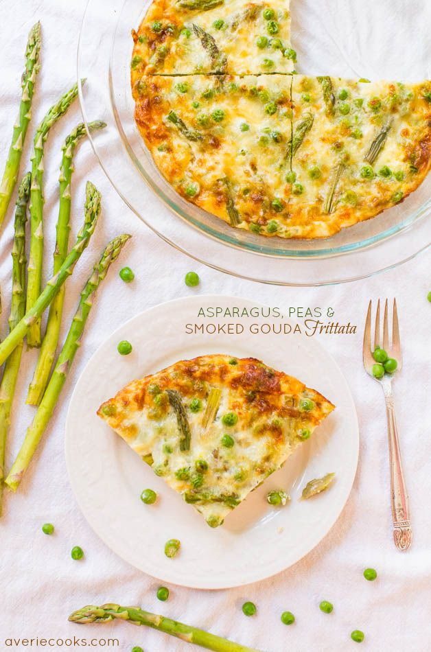Asparagus, Peas, and Smoked Gouda Frittata - Even the pickiest eaters will eat green vegetables in this healthy & easy 25 minute recipe!Green Vegetables, Easy 25, Gouda Frittata, Pickiest Eaters, Minute Recipe, Avery Cooking, Eating Green, Smoke Gouda, 25 Minute