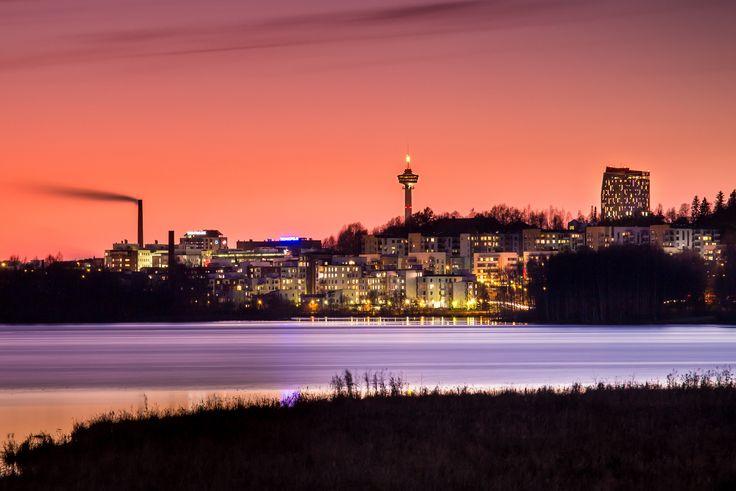 Tampere skyline. Photographed from Iidesjärvi bird-watching tower