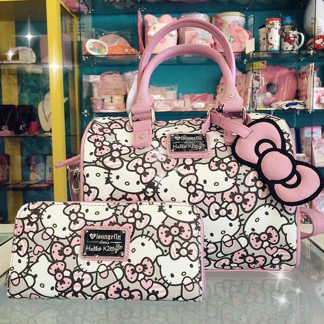 Check out these cute matching Hello Kitty Pink Bow Pattern Purse($69.99) and Zip Around Wallet ($34.99) Available online & in store now!!! #japanla #hellokitty #loungefly