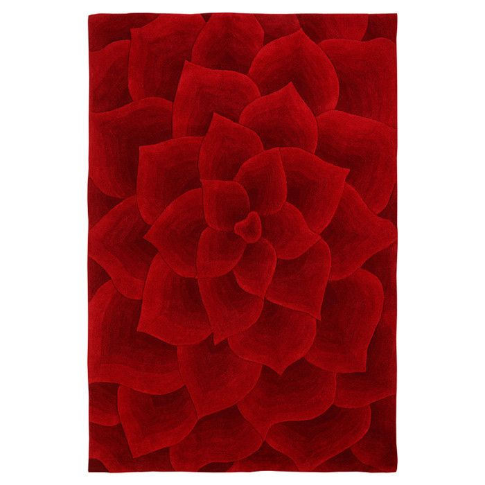 I think that this red rug is just amazing and it would be fabulous in a black and white bathroom or bedroom.  It would add a great pop of color to many decor themes.