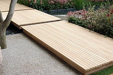 Floating Decks for backyard?  Two or three by the wood fired oven would be great with stepping stones between.  Ideas...