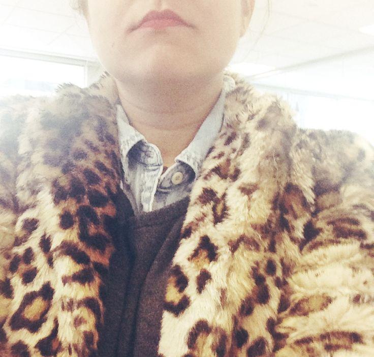 Leopard furry coat+ jean shirt+grey sweater.  winter