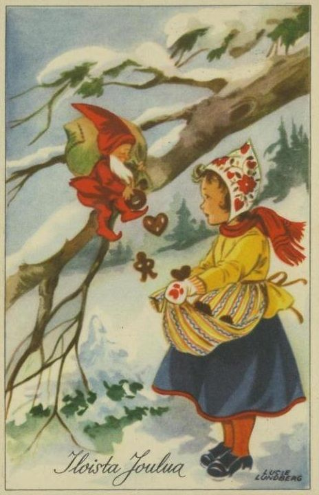 antique Finnish Christmas postcard, Lucie Lundberg artist