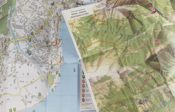 Simbiosi per i comuni di Gravedona e Domaso che per l'estate ci hanno affidato la progettazione e realizzazione di una carta con duplice finalità: escursionistica da un lato, che comprende entrambi i territori, e turistico commerciale dall'altro.