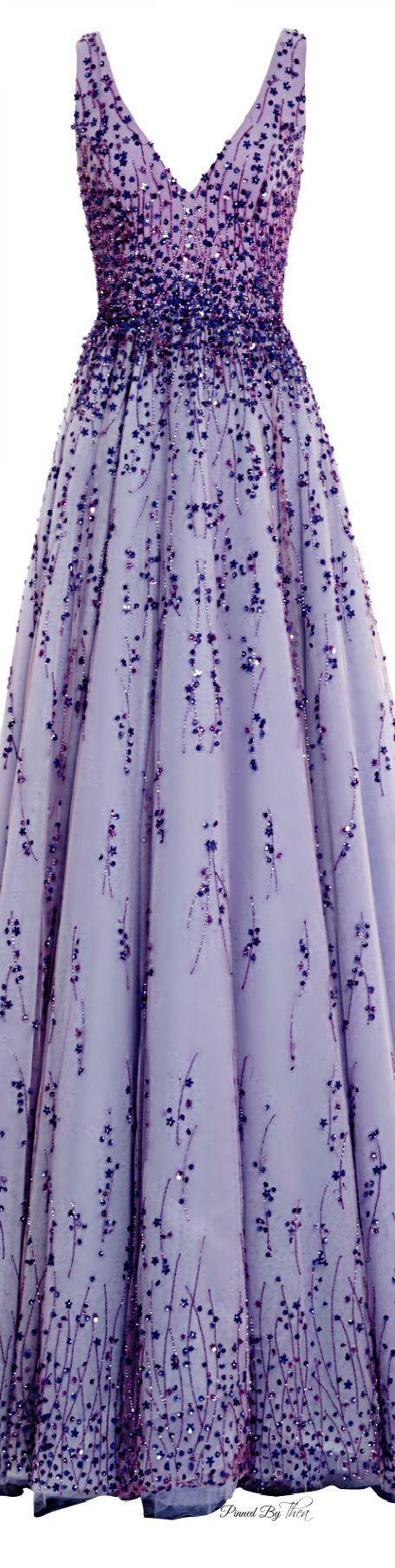 Monique Lhuillier ● SS 2015, Violet Tulle Ball Gown                                                                                                                                                      More