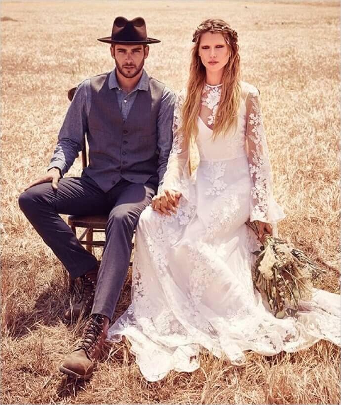 жених и невеста в бохо-стиле