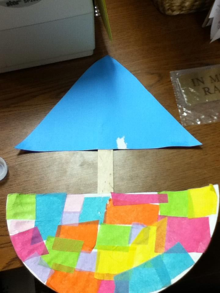Paper Plate Tissue Paper  Boat Craft - From our Boat Agenda in March 2015. For more free resources and lesson plans, please check this out!