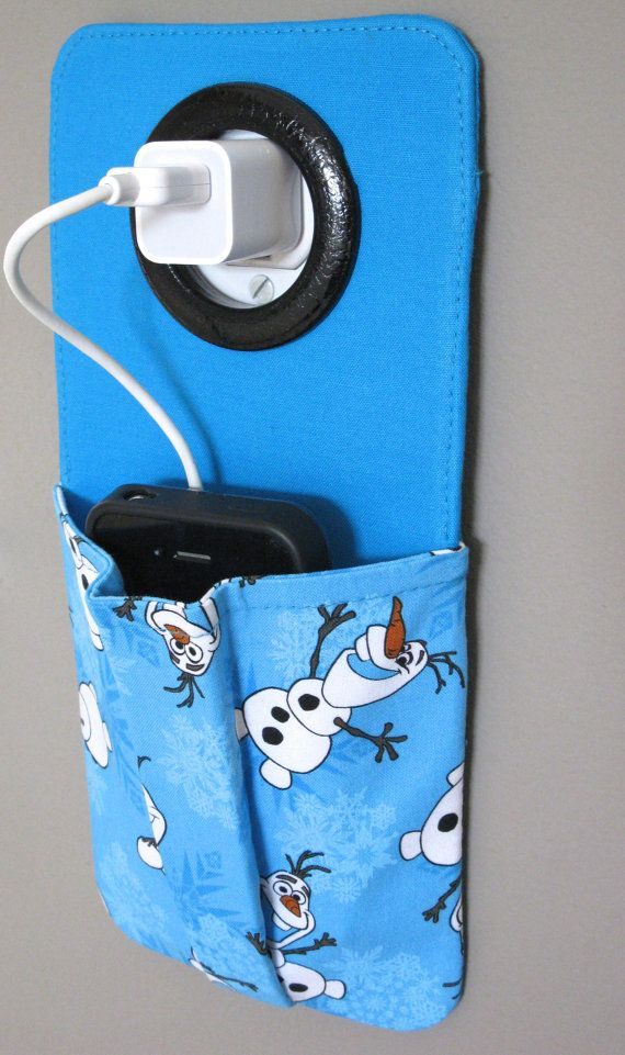 iPhone Cell Phone Pocket, iPod Touch, Smart Phone Wall Socket Charging Holder, Docking Station, Pouch Made from Frozen Olaf Fabric