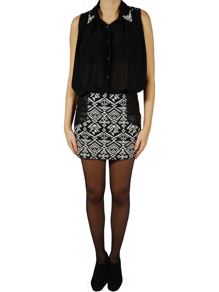 Jupe aztèque noire et blanche #tendance #look #mode #boutique #vetements #clothes #femme #fashion #shopping www.milena-moda.com