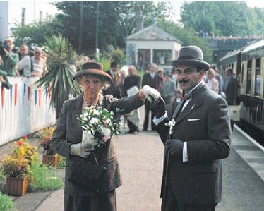 Poirot (David Suchet) meets Miss Marple (Joan Hickson). This was for a charity event, sadly they would never meet for an episode, as of course these great Agatha Christie detectives were from different era's.