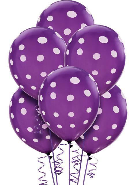 Latex New Purple Polka Dots Printed Balloons 12in 6ct - Party City $2.99