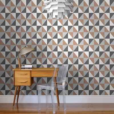 Geometric Mosaic Diamond Copper Black Metallic Wallpaper Modern Contemporary