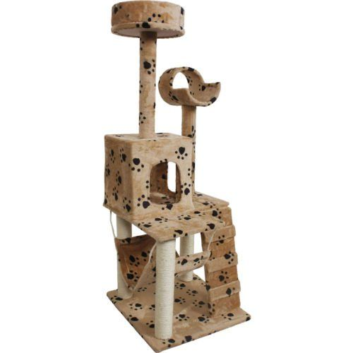 Lovely 52' Cat Kitty Tree Tower Condo Furniture Scratch Post Pet House Toy Beige Paws   : Cats scratching post