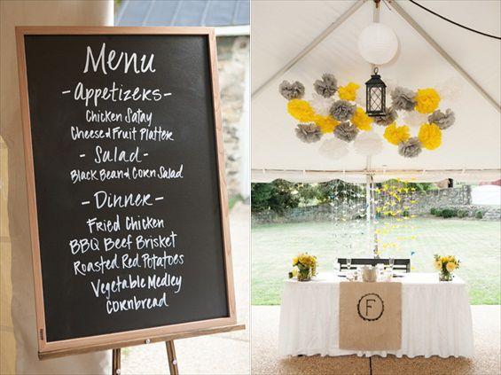 chalkboard menu - paper poms -rustic wedding reception decor - jan michele photography