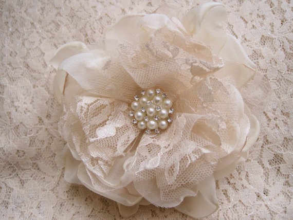 Ivory  Satin and Antique Lace Wedding Flower by theraggedyrose, $24.95
