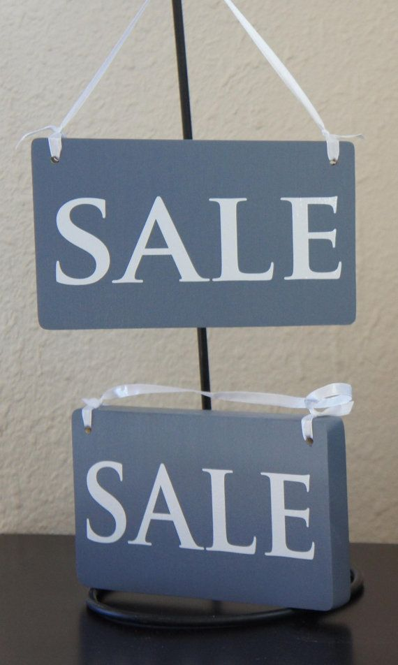 Sale signs pair Set with Ribbon - Solid Wood Business Retail Shop Clothing Store Signs