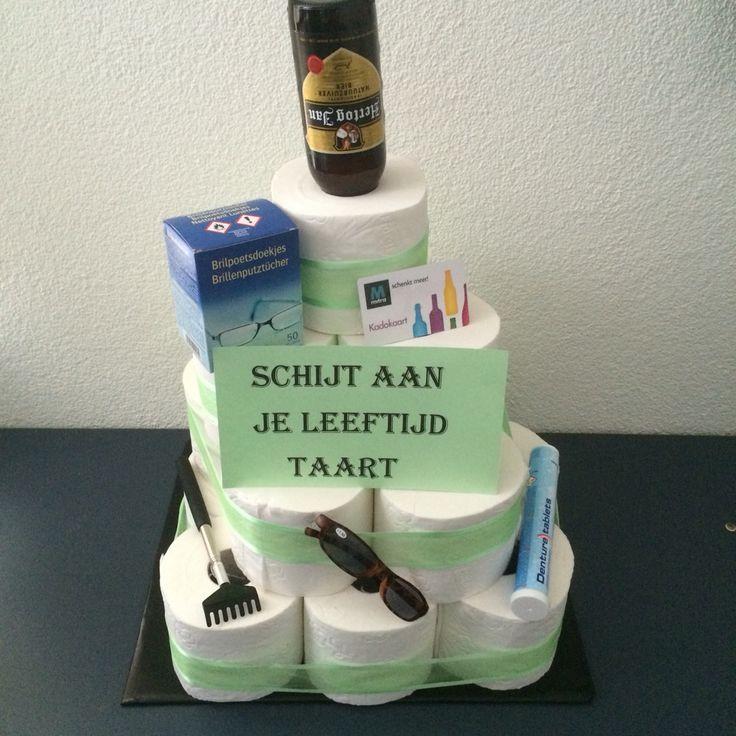 Wc papier taart voor Abraham