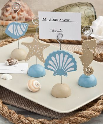 magical sea themed place card holders wedding