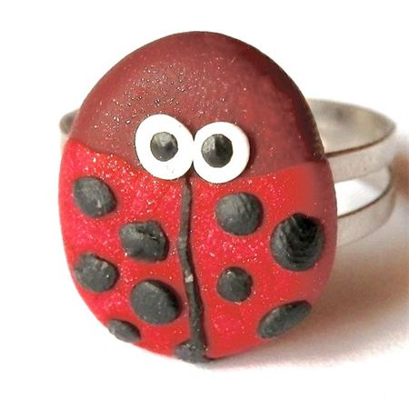 Ladybug Ring: handmade from polymer clay. Available to purchase from Breeze Creations on Madeit