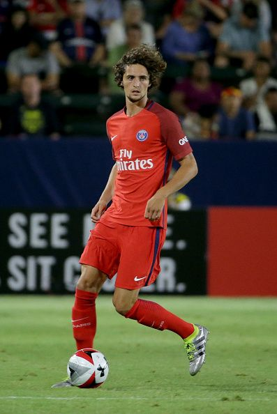 Adrien Rabiot of Paris SaintGermain in action against Leicester City during the 2016 International Champions Cup at StubHub Center on July 30 2016 in...