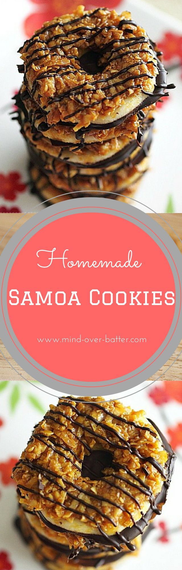 Homemade Samoa Cookies. For when you're jonesing for a Girl Scout Cookie and there is no girl scout to be found! http://www.mind-over-batter.com