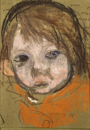 Sketch Drawing Red Haired Girl by Joan Kathleen Harding EARDLEY