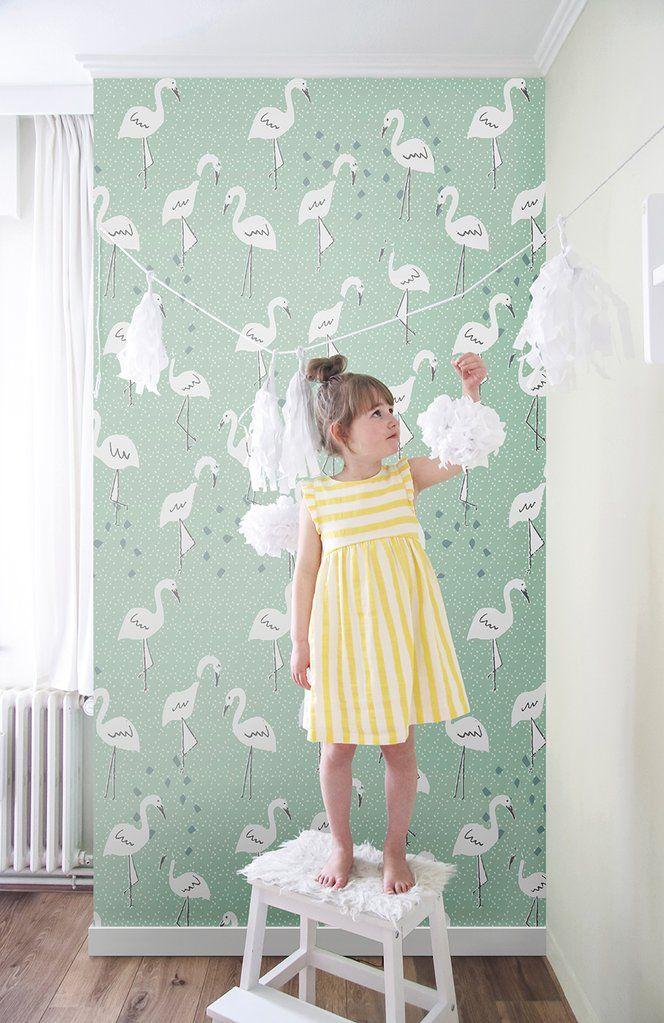Pastel Groen Behang.Behang In Paradise Pastelgreen In 2019 Groen Behang Girls