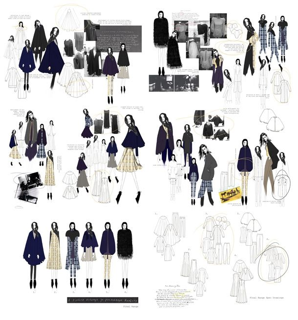 Fashion Design Portfolio - design board drawings, development & fashion design flats; the fashion sketchbook // Sophie McKeating