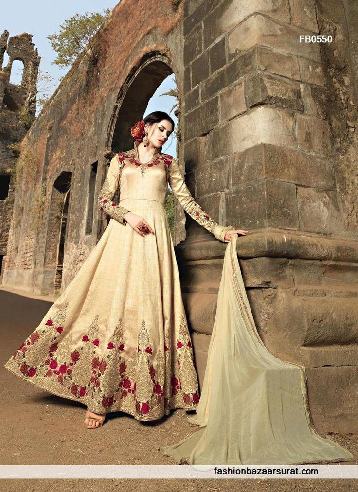 latest designer dresses for wedding wear beige color banarasi silk anarkali suit