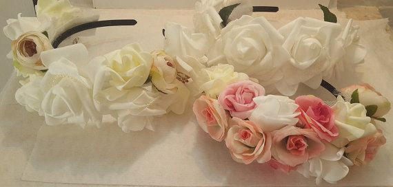 HOLIDAY SALE White flower crown white rose crown White flower crown, white rose crown, flower crown, flower girl crown, bridal shower gift, Flower girl, bridesmaid Crown by GalitDesigns