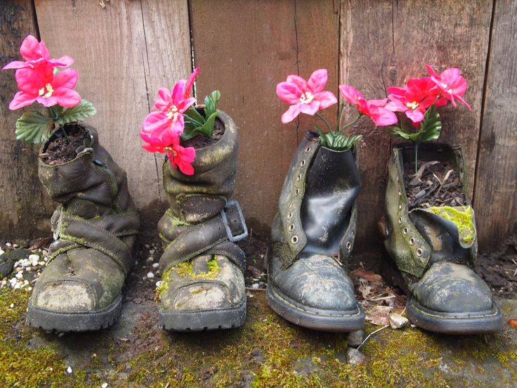 Boots and flowers in our garden