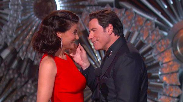 Idina Menzel & John Travolta Mock Adele Dazeem Flub At OscarsReunion